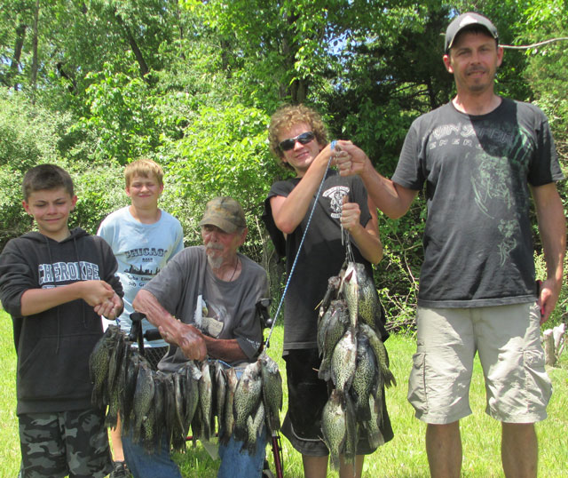 A fishing trip in Fulton County yielded plenty of crappie for Mason Ewalt, Chase Ewalt, Vietnam veteran Kenny Ewalt, Colton Sheff and Joe Ewalt.