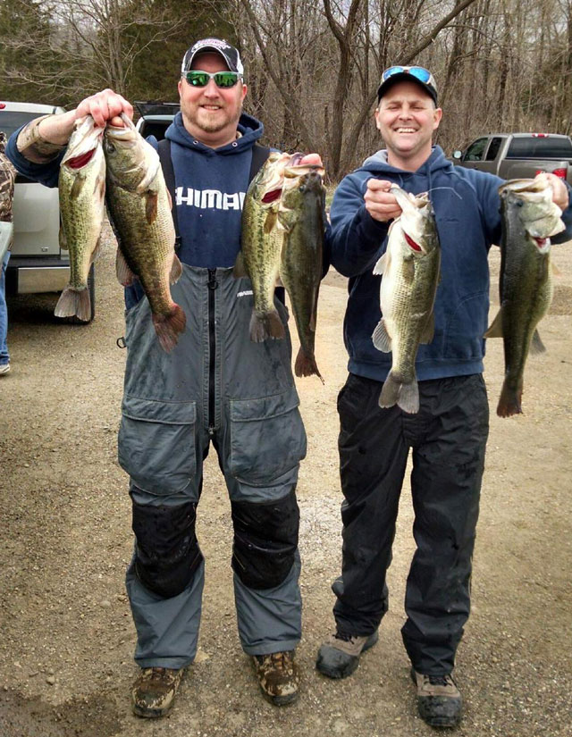 Adam Jaegle (left) and Tim McCoy caught these six big bass during the spring Classic tournament for Presley's Outdoors on March 20. The six fish weighed in at 28.6 pounds and came off the East Point Access area.