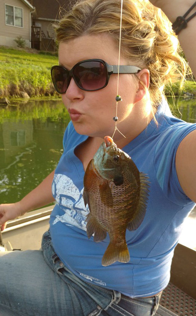 Amy Friedrich caught this bluegill out of Heritage Lake near Mackinaw in late May.