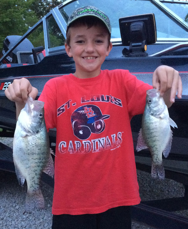 Beau Breggemann caught these crappie at Mark Twain Lake this spring. Photo courtesy of TIMBER RIDGE RESORT