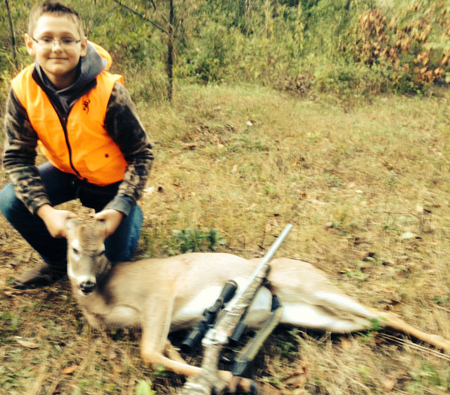 Beau Shaffer, 11, shot this doe in west-central Illinois