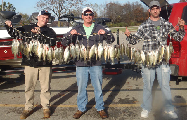 Ben Johnson, with friends Caleb and Jake with a four-man, 60-fish limit of crappie caught with Lake Shelbyville Guide on Lake Shelbyville.