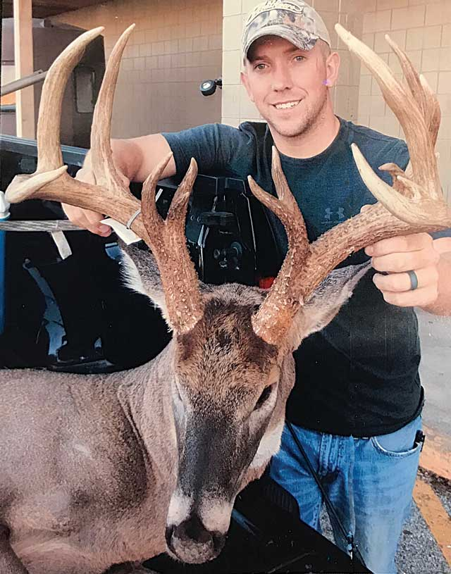 Bowhunter Jesse Harbourn shot this 15-point Calhoun County buck last October.