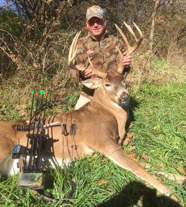 Bowhunter Ralph Phillips of Elmwood shot this Knox County buck on Nov. 13 shortly after 9 a.m.