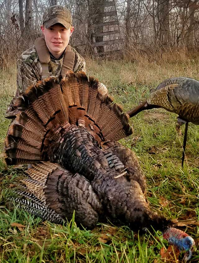 Brenden Hastings, 13, of Quincy shot this gobbler in Schuyler County as part of the IRAP program