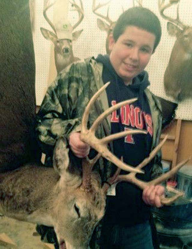 Carson Hall shot his first deer, a buck, in Clay County during the 2014 Illinois youth season.