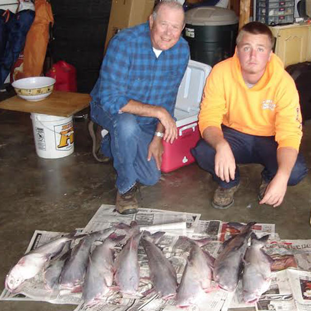 Chuck Barisch of Toluca and his grandson Jay Barisch of Troy caught these blue catfish along the St. Louis riverfront on the Mississippi with guide Captain Ryan of ShowMeCatfishing.com