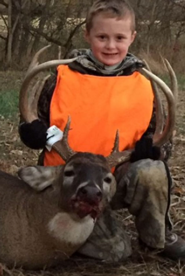 Colton Coffey, 8, shot his first deer, a buck, in Franklin County this past fall.