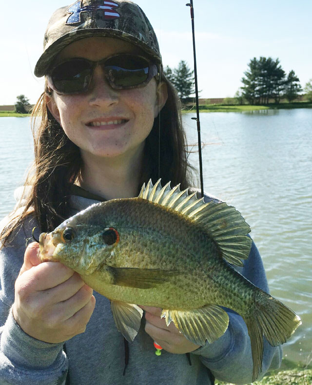 Emily Wade caught this redear at a farm pond near Clinton in May.