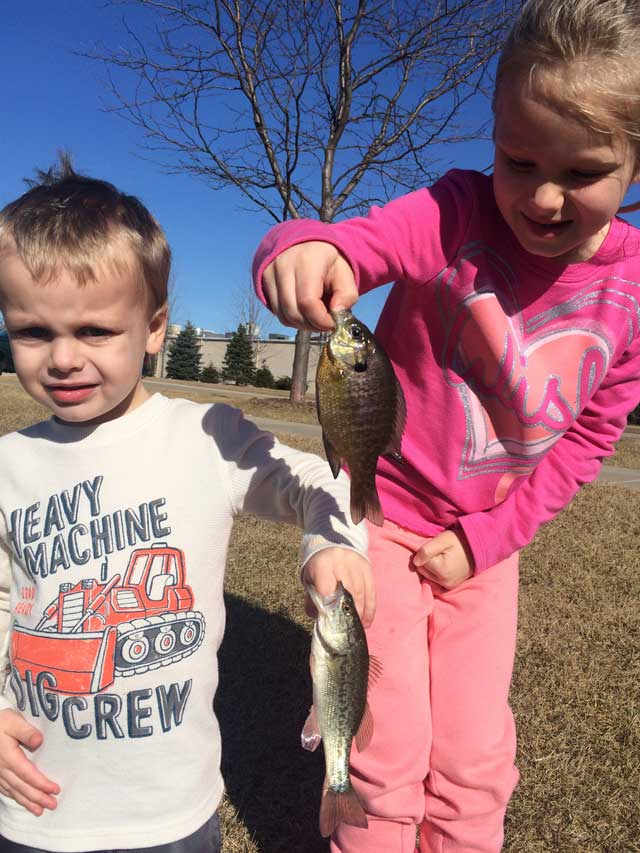 Gabby and Cooper Wisher started off the 2016 ice-out fishing season with this double in a Peoria County pond