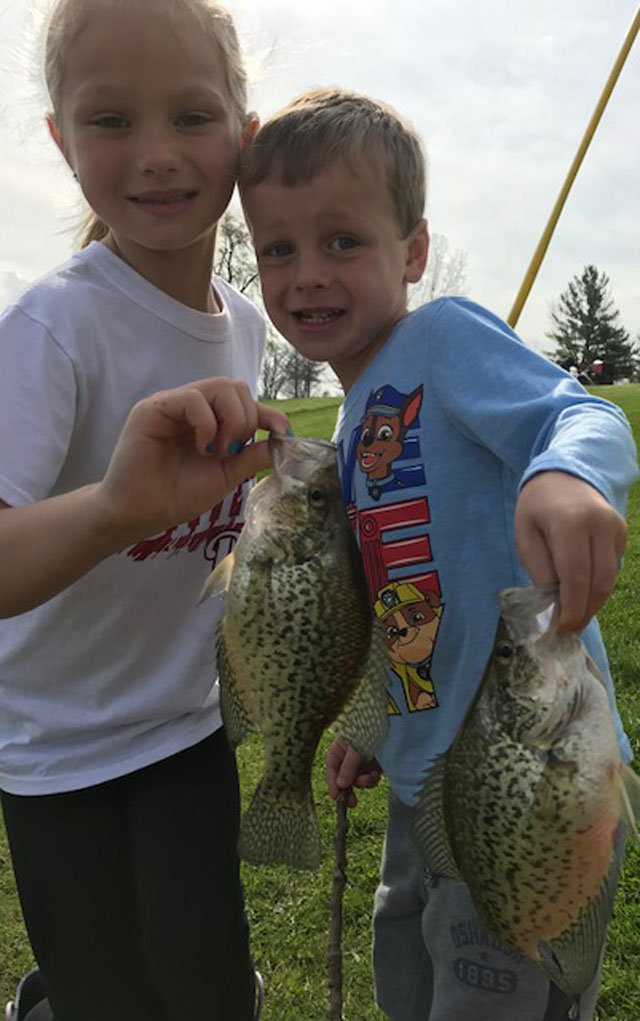 Gabby, 6, and Cooper, 4, Wisher doubled on a pair of 10-inch crappie on April 14 in Peoria County. Heartland Outdoors.