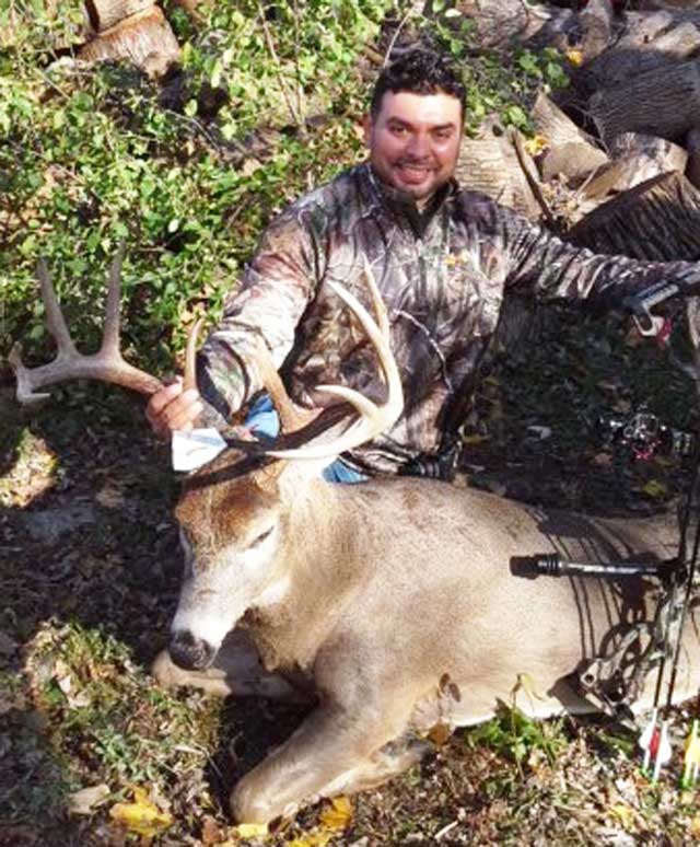 Jesse Garcia of Wauconda took this 10- pointer while bowhunting along the Fox River near the town of McHenry.