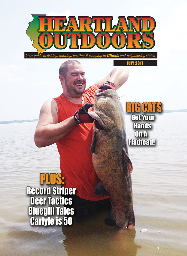 Heartland Outdoors July 2017 cover catfish flathead rend  lake