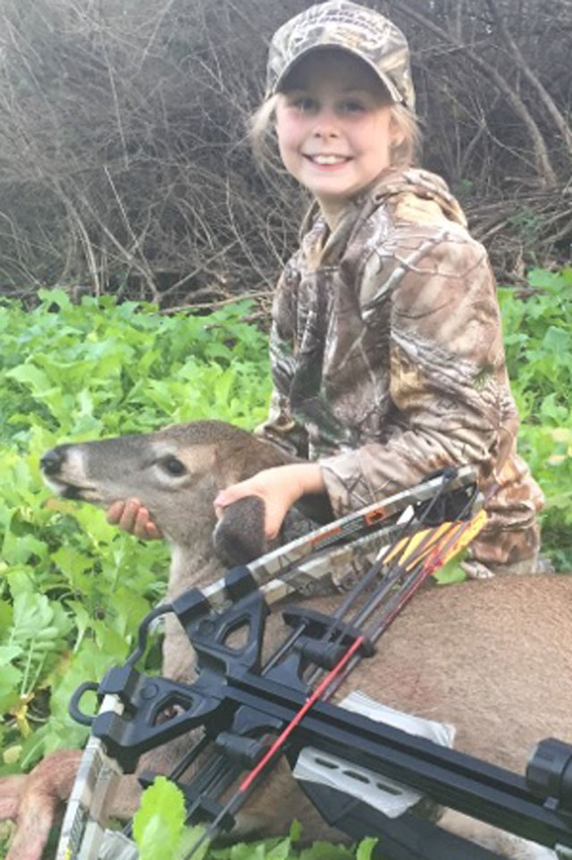 Kayla Estes, who was 8 at the time, shot her first doe on Oct. 22, making a 20-yard heart shot with her crossbow.