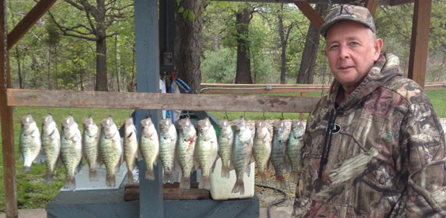 Keith Ballman, Timber Ridge Alderman, Ward 19, enjoyed a fruitful spring fishing trip on Mark Twain Lake. Photo courtesy of TIMBER RIDGE RESORT.