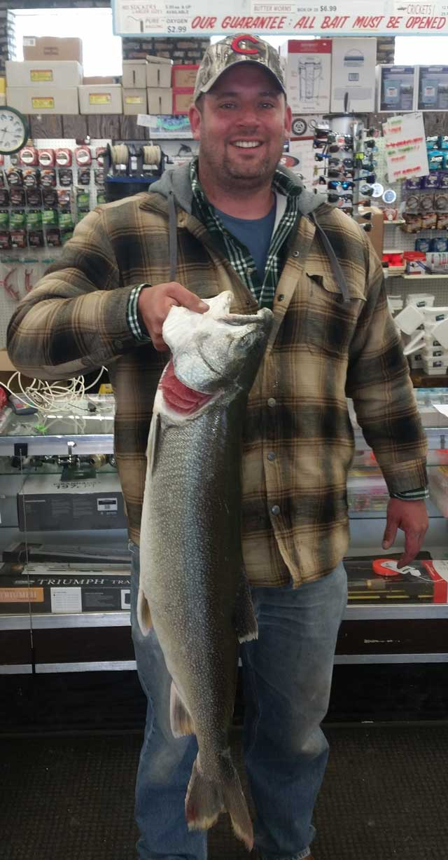 Lake trout like this 19.85-pounder caught by Donald Giuliano from shore at Montrose are a big-fish part of the changing fishery on Lake Michigan.