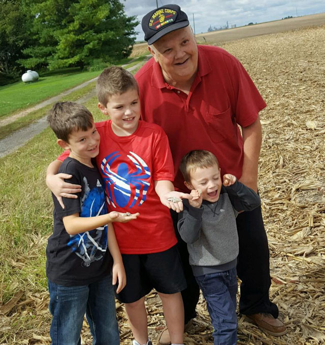 Lummy Collins of HO took his grandsons on an arrowhead hunt this fall. From left to right are Ephraim Batson, Noah Collins and Greydon Batson