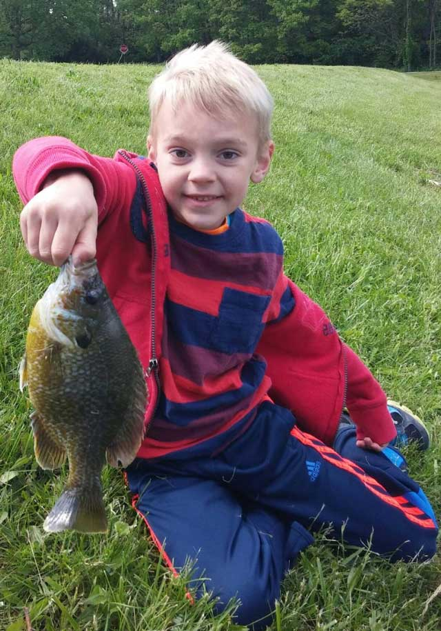 Reese Lorenz caught this bluegill all by himself this spring while fishing with his uncle, Joel Hamm.