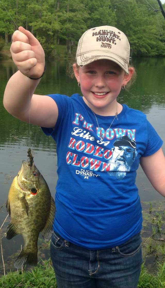 Rozlynn Maring, the niece of Heartland Outdoors writer Chris Maring, caught this chunky redear out of an old strip mine near Oakwood.