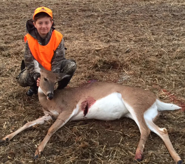 Ryan Brucker, 11, shot his first deer during the Illinois youth season in Fulton County.