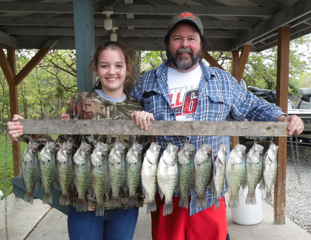 Rylee and Sam Wilkerson had a good time crappie fishing at Mark Twain Lake this spring. Photo courtesy of TIMBER RIDGE RESORT.