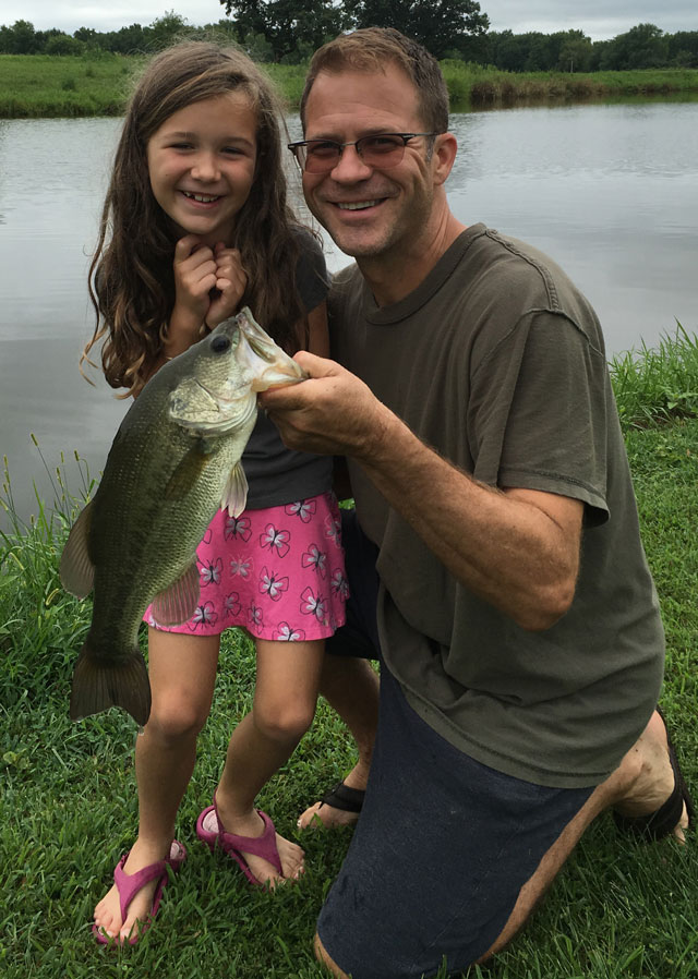 Sophie Bennett, 7, caught this bass in a private pond near Decatur on Aug. 13. Her dad, Bruce Bennett, was kind enough to hold the fish
