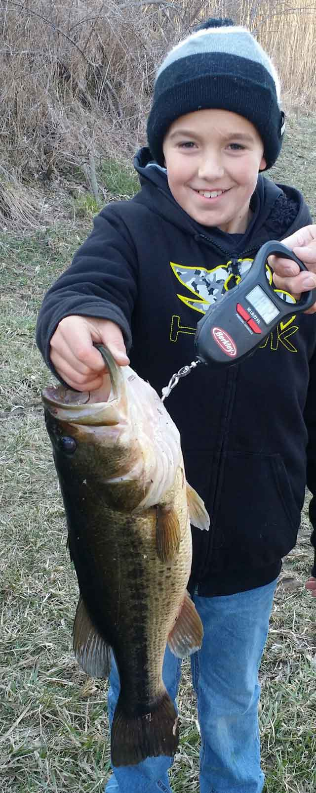 Tanner Wake of Elmwood caught this bass on March 18 while fishing a Culprit gold-and-black worm in a lake near Middlegrove