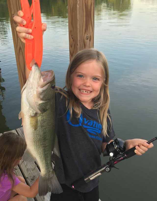 Taytum Beaty, 7, caught this largemouth bass on June 25 out of a pond near Lewistown