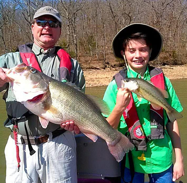 This 10.11-pound largemouth bass was caught at the Lake of the Ozarks on March 15 by Val Grikis (left), who was fishing with his son Ryan Grikis. Photo courtesy of www.BassingBob.com.