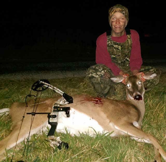 Trey Brann, 13, of Tolono took his first deer with a bow on Nov. 2. He was shooting a Mission Craze tipped with a Muzzy three-blade broad head and shot his deer at 25 yards.