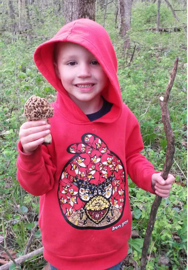 5 year old found his first morel mushroom last april near Bement while hunting with his father