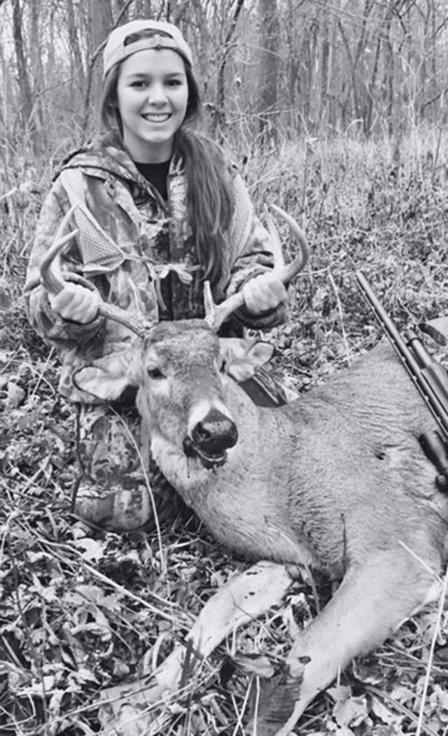 15 year old Emily Schenkel of Cerro Gordo Illinois with her second season 7 point buck.