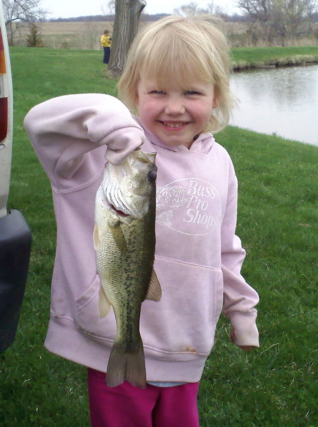 4 years old from Germantown Hills catches the big fish of the day, April 21, 2014 from a Woodford County pond.Illinois