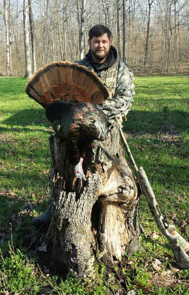 Man of Effingham with a 26 pound, 11 inch beard Fayette City gobbler. First season kill